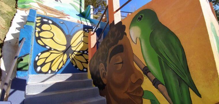 Pintura artística em escadaria homenageia escritores cachoeirenses